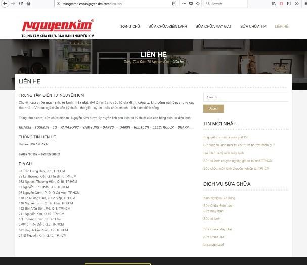 Website giả mạo trung tâm điện máy Nguyễn Kim