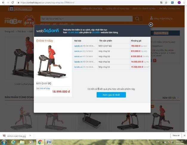 Người mua nên sử dụng tính năng so sánh giá trước khi quyết định đặt mua hàng