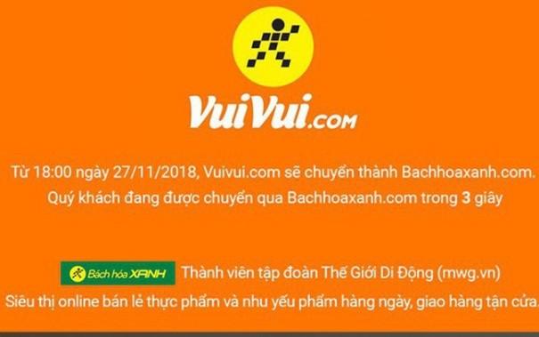 Vuivui.com thông báo chuyển thành Bachhoaxanh.com