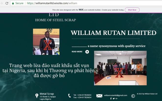 Trang web lừa đảo xuất khẩu sắt vụn tại Nigeria (www.williamruttanltd.wixsite.com/william) sau khi bị Thương vụ phát hiện, đã được gỡ bỏ