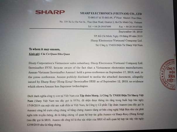 Thông cáo báo chí của Sharp khẳng định Asanzo giả mạo văn bản