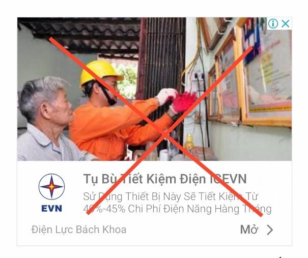 Một fanpage sử dụng trái phép hình ảnh, logo của EVN để bán hàng