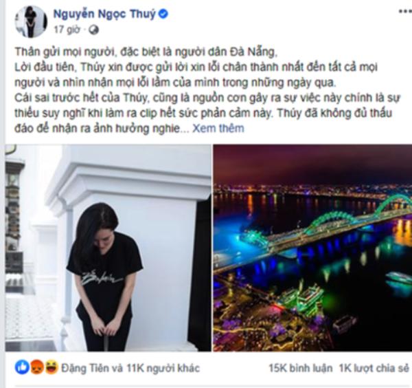 Á hậu doanh nhân Nguyễn Ngọc Thúy gỡ nội dung sai phạm, đăng tải thông tin xin lỗi trên mạng xã hội Facebook