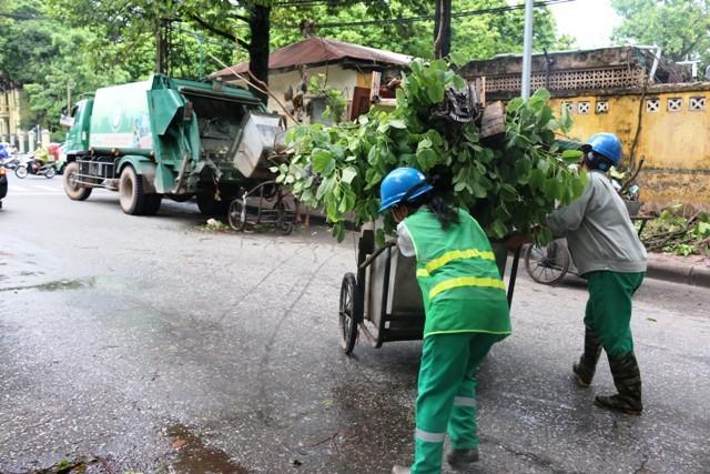 Lực lượng chức năng vẫn tiếp tục huy động tối đa nhân vật lực để thu dọn cây xanh bị gãy, đổ do ảnh hưởng của hoàn lưu bão số 1 trên địa bàn thành phố Hà Nội
