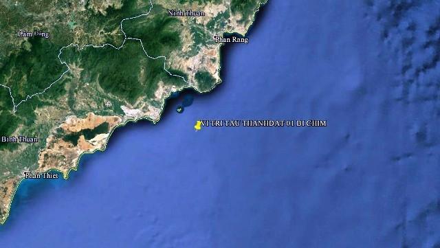 Vị trí tàu Thành Đạt 01 bị va chạm chìm (Ảnh: MRCC)