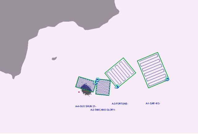 Phạm vi tìm kiếm 2 thuyền viên tàu Thành Đạt 01 bị mất tích (Ảnh: MRCC)