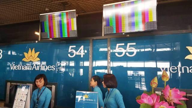 Hệ thống màn hình sân bay Nội Bài gặp trục trặc kỹ thuật vào chiều 22/8