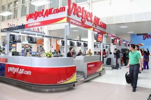 Quầy bán vé của Vietjet Air tại sân bay quốc tế Đà Nẵng