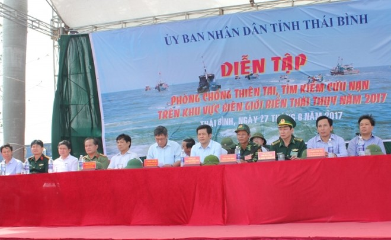 Tỉnh Thái Bình diễn tập phòng chống thiên tai và tìm kiếm cứu nạn trên biển