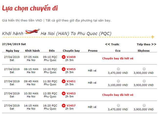 """Một số chặng bay """"hot"""" trong dịp nghỉ lễ 30/4 tới đây hoặc đã hết vé hoặc giá rất cao"""