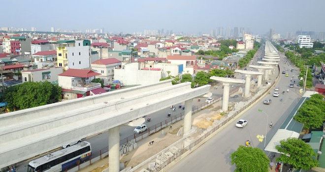 Tiến độ đoạn trên cao tuyến đường sắt đô thị Nhổn-Ga Hà Nội đã hoàn thành đến 98%
