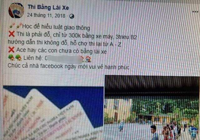 """Nhiều trang cá nhân trên facebook quảng cáo việc """"bao"""" đỗ thi bằng lái xe"""