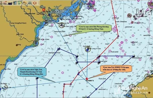 Vị trí tàu cá NA 85899 TS bị chìm khiến 10 ngư dân chết và mất tích (ảnh báo Nghệ An)