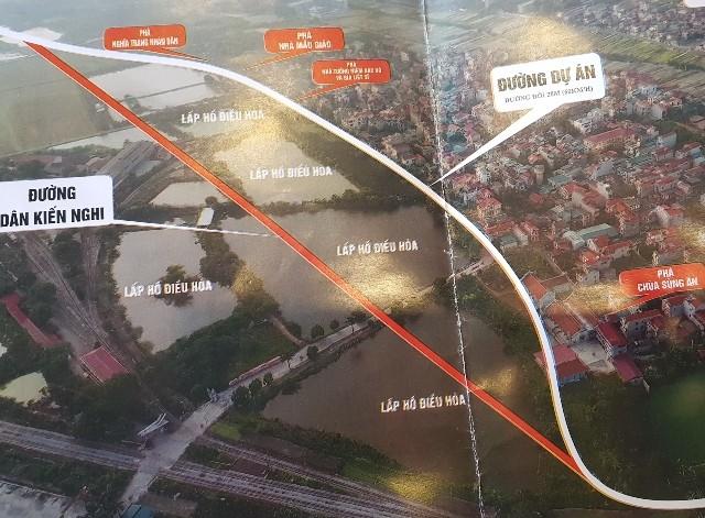 Dự án đường Phan Đăng Lưu- Yên Thường theo quy hoạch sẽ chạy qua thôn Lã Côi khoảng 600m (đường màu trắng)