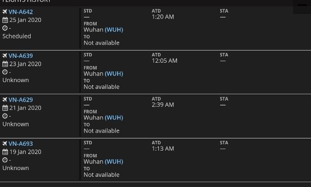 Toàn bộ các chuyến bay từ Nội Bài đến Vũ Hán đã bị hủy