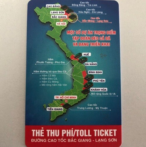 Một số lái xe phản ánh, bản đồ in trên thẻ thu phí cao tốc Bắc Giang- Lạng Sơn bị thiếu 2 quần đảo Hoàng Sa và Trường Sa