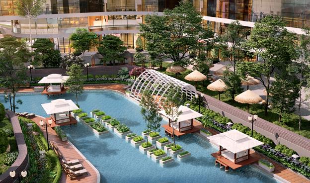 Lõi cảnh quan với cây xanh, mặt nước, tạo môi trường sống lý tưởng nhất cho cư dân tại dự án Sunshine Diamond River