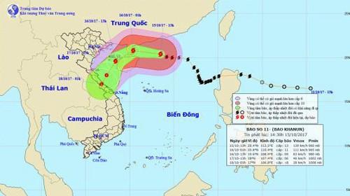 Dự báo về đường đi của cơn bão số 11