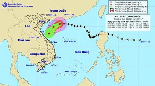 Bão số 11 đang tiến sát khu vực vịnh Bắc Bộ và được dự báo sẽ suy yếu thành áp thấp nhiệt đới