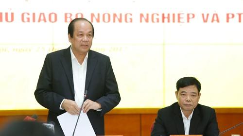 Bộ trưởng, Chủ nhiệm Văn phòng Chính phủ Mai Tiến Dũng, Tổ trưởng Tổ công tác của Thủ tướng, phát biểu tại buổi kiểm tra