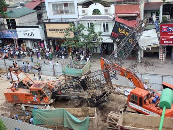 Vụ tai nạn lao động tại khu vực thi công đường sắt đô thị ở Hà Nội