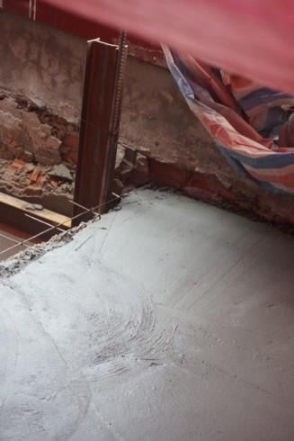 Phần diện tích mới được đổ bê tông
