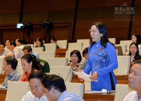 Đại biểu Trịnh Ngọc Thúy (đoàn TP.HCM) phát biểu thảo luận