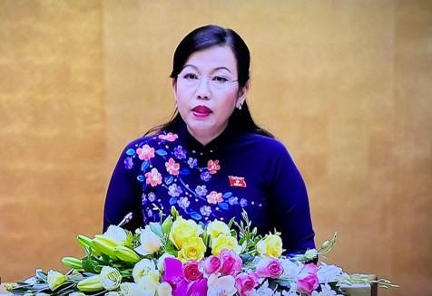 Trưởng Ban Dân nguyện của UBTVQH Nguyễn Thanh Hải trình bày Báo cáo trước Quốc hội