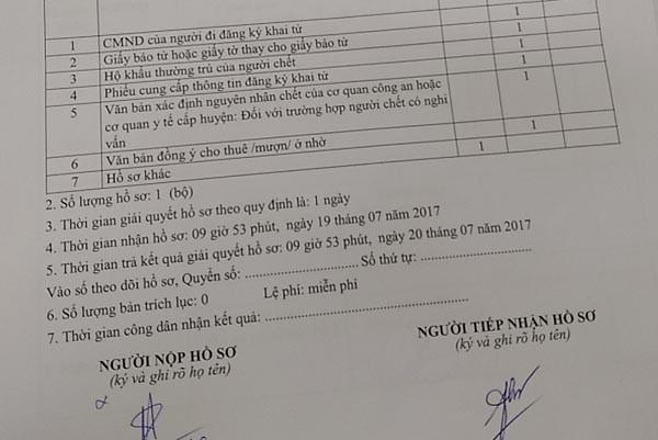 Giấy hẹn giải quyết thủ tục khai tử của chị Vũ Thanh Hoa