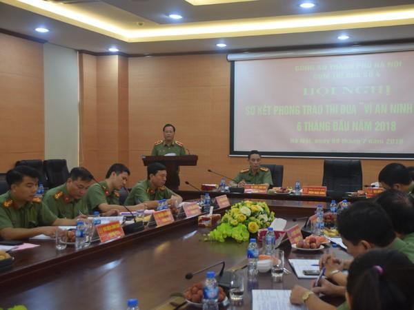 Thiếu tướng Đoàn Ngọc Hùng - Phó Giám đốc CATP Hà Nội phát biểu ý kiến chỉ đạo tại hội nghị