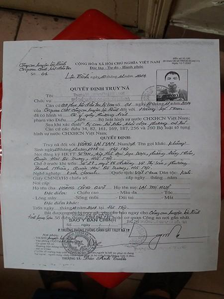 Quyết định truy nã của Công an huyện Lộc Bình, tỉnh Lạng Sơn, đối với Hoàng Lại Nam