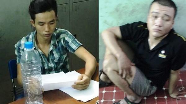 Lê Trường Giang (trái) và Nguyễn Văn Liền (phải) tại cơ quan Công an