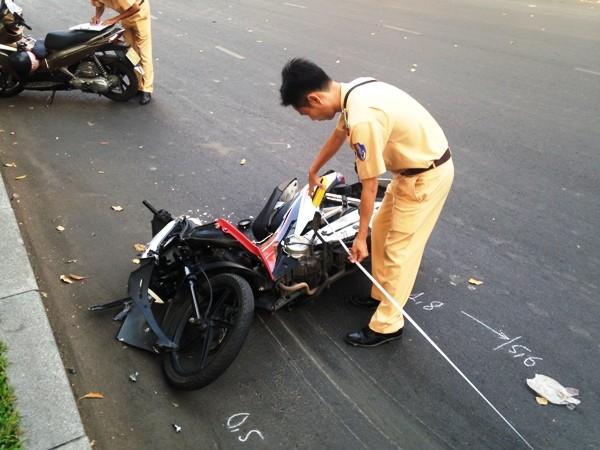 Chiếc xe máy bị hư hỏng nặng