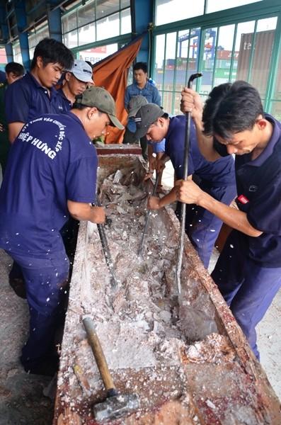 Ngà voi được giấu trong các khúc gỗ một cách tinh vi