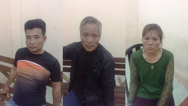 3 đối tượng bị bắt giữ (từ trái qua phải) gồm: Đào và vợ chồng Mạnh - Xuyến