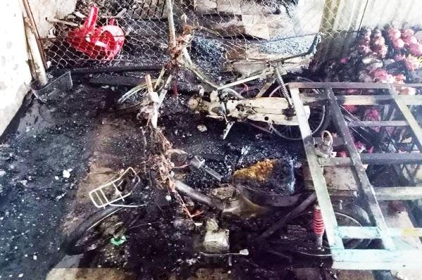 Hiện trường vụ cháy ở chợ Tân Biên