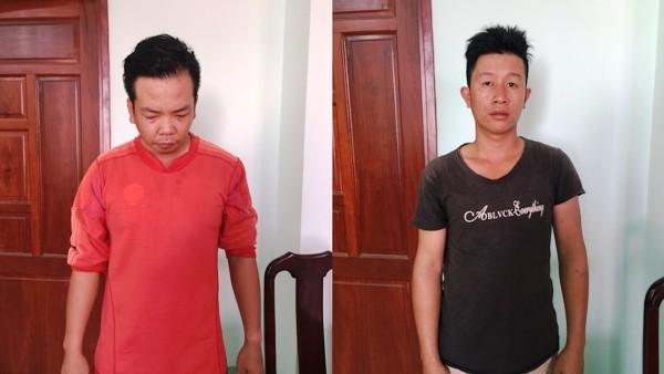 Đối tượng Nguyễn Hữu Được (trái) và Nguyễn Chánh Trung khi bị bắt giữ