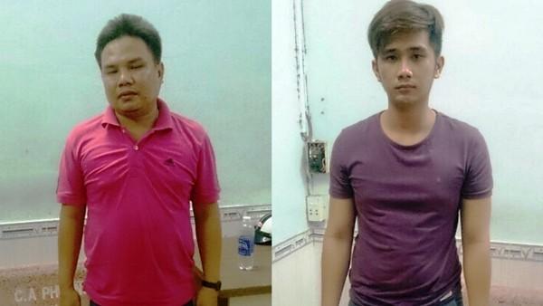 Chủ cơ sở massage trá hình Trịnh Hữu Cường (trái) và quản lý, là Nguyễn Nghiêm Nghĩa