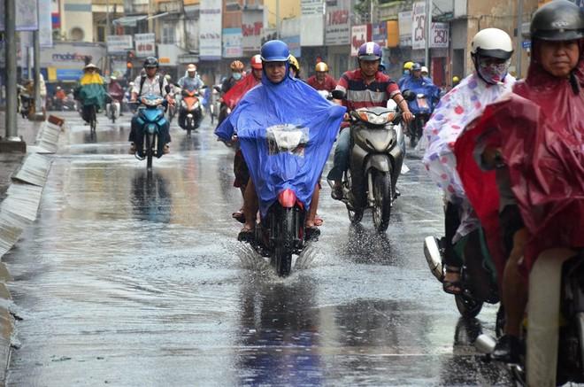 Nước thành vũng trên đường Phan Đình Phùng, quận Phú Nhuận.