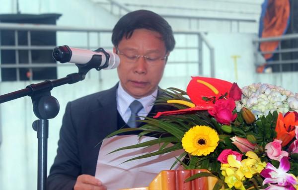 Đồng chí Nguyễn Hồng Yên – Phó Bí thư Huyện ủy, Chủ tịch UBND huyện Thanh Oai phát biểu tại buổi lễ