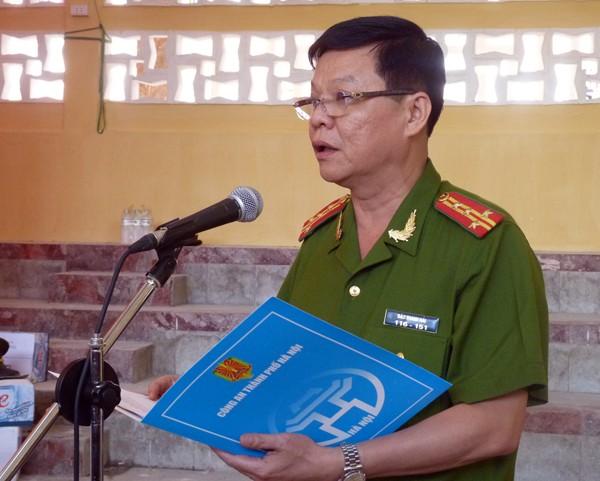 Đại tá Đào Thanh Hải - Phó Giám đốc CATP Hà Nội phát biểu tại lễ khai mạc Giải đấu quy tụ 268 vận động viên đến từ 64 đơn vị thuộc CATP
