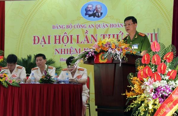 Đại tá Đào Thanh Hải - Phó Giám đốc CATP Hà Nội phát biểu tại Đại hội