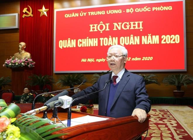 Tổng Bí thư - Chủ tịch nước Nguyễn Phú Trọng: Quân đội tuyệt đối không được chủ quan, thỏa mãn ảnh 1