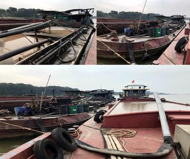 Bắt giữ 3 tàu khai thác cát trái phép trên sông Hồng ảnh 1