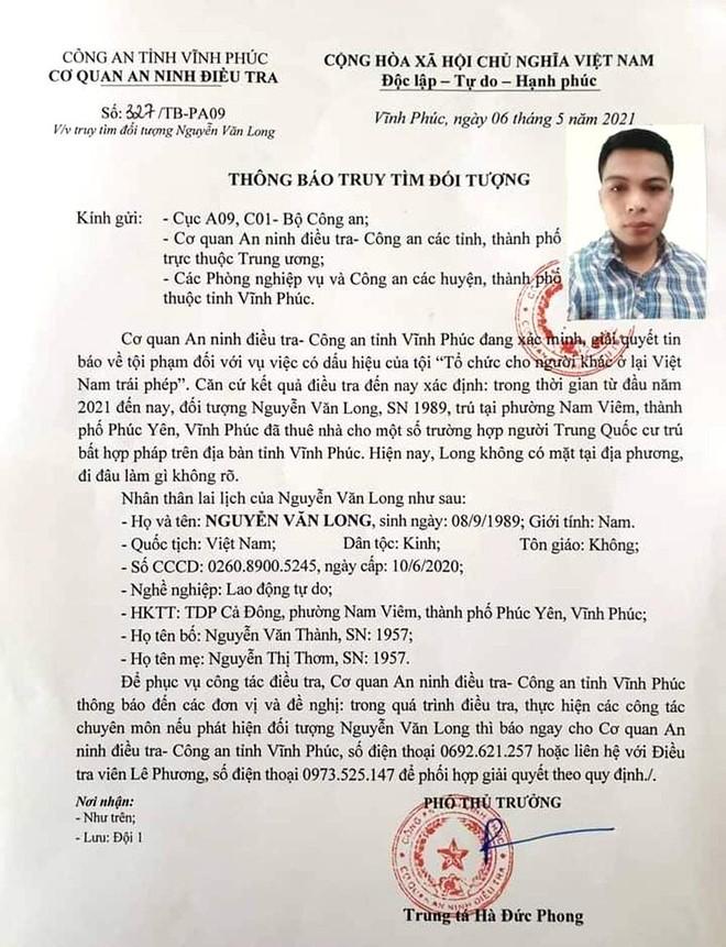 Vĩnh Phúc: Đối tượng thuê nhà cho người Trung Quốc ở bất hợp pháp rồi bỏ trốn đã ra đầu thú ảnh 2