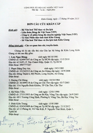 """Cầu thủ K.Kiên Giang """"cầu cứu khẩn cấp"""" Bộ VH-TT&DL ảnh 1"""