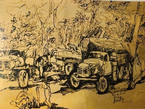 """Cựu chiến binh Đoàn 559 bày triển lãm tranh """"Còn lại với Trường Sơn"""" ảnh 1"""