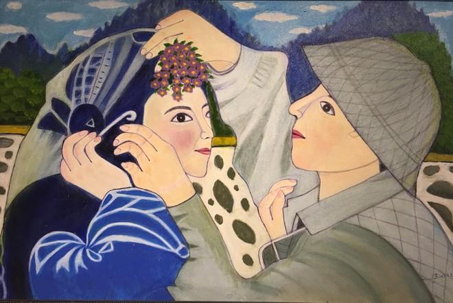 Cô giáo dạy Văn 76 tuổi ra mắt triển lãm mỹ thuật gây bất ngờ cho giới họa sĩ ảnh 4