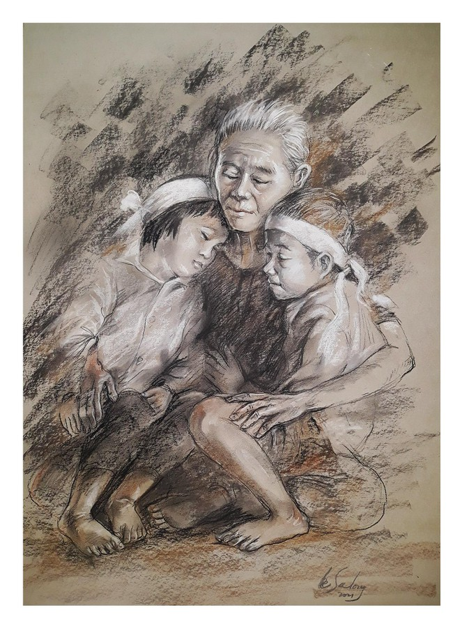 Rưng rưng nét vẽ trẻ mồ côi trong đại dịch ảnh 2