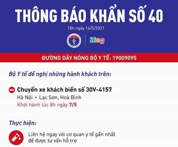 Khẩn tìm người đi chuyến xe khách từ Hà Nội lên Hòa Bình do có người mắc Covid-19 ảnh 1